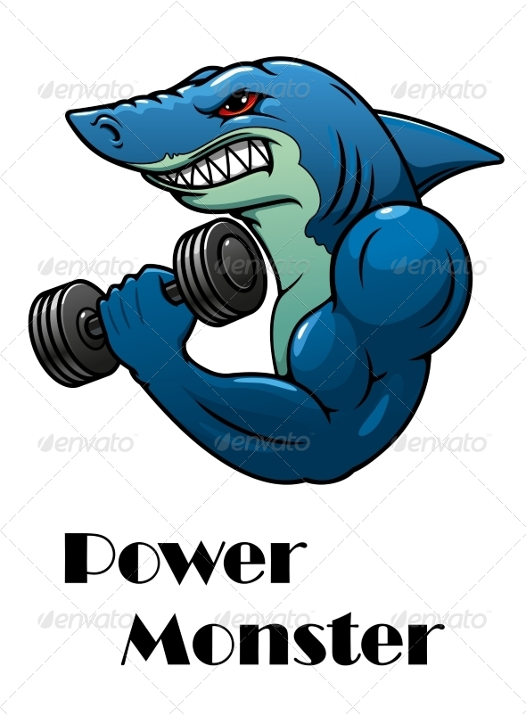 GraphicRiver Shark Athlete with Dumbbells 7962519