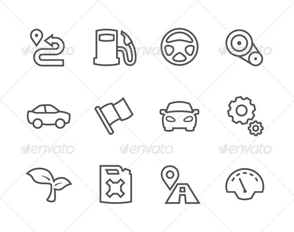 GraphicRiver Outline Auto Icons 7962623