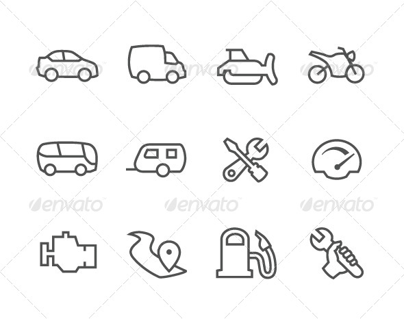 GraphicRiver Outline Auto Icons 7962631