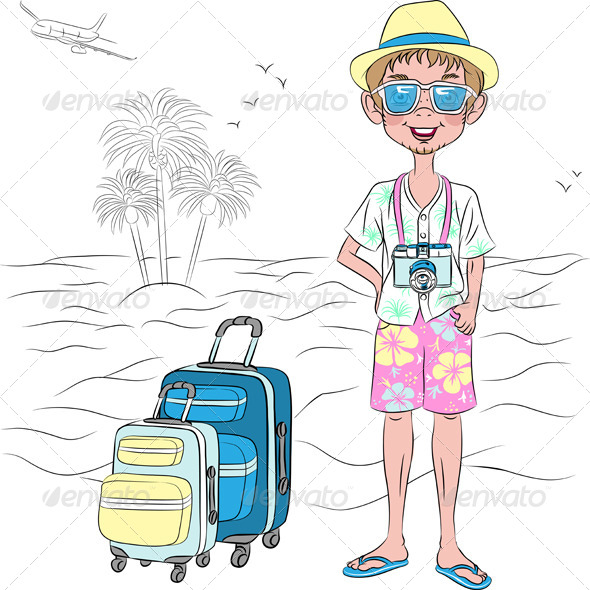 GraphicRiver Hipster Traveler Guy on the Sea Beach 7962664