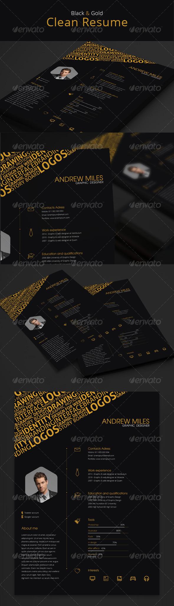 black & gold resume