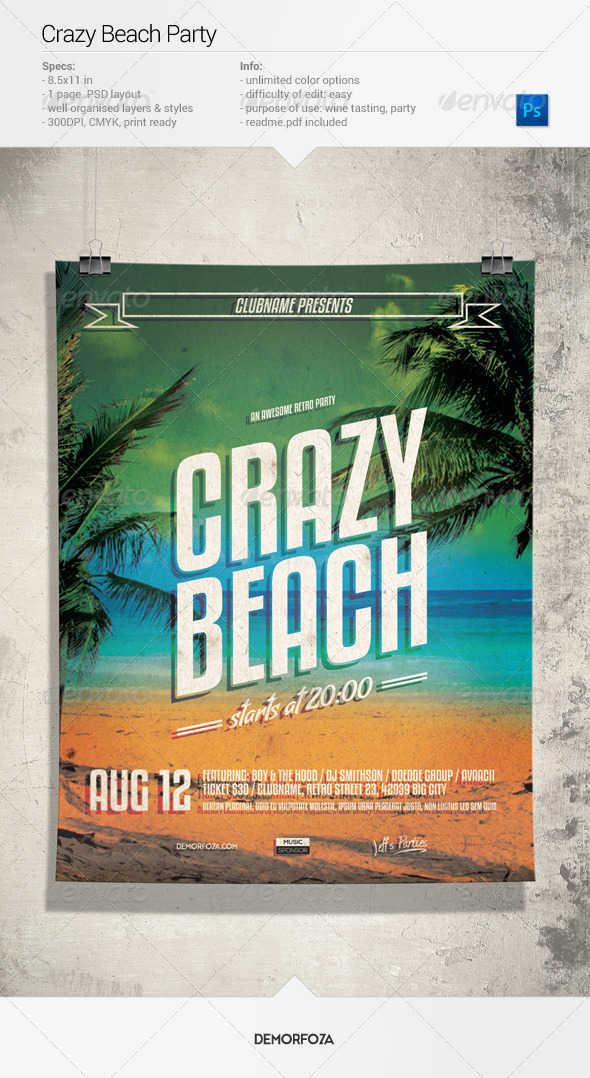GraphicRiver Crazy Beach Party Flyer 7962827