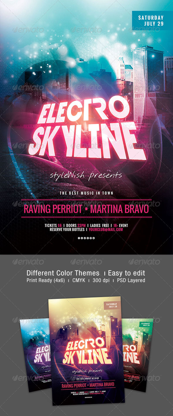 Electro Skyline Flyer - Clubs & Parties Events