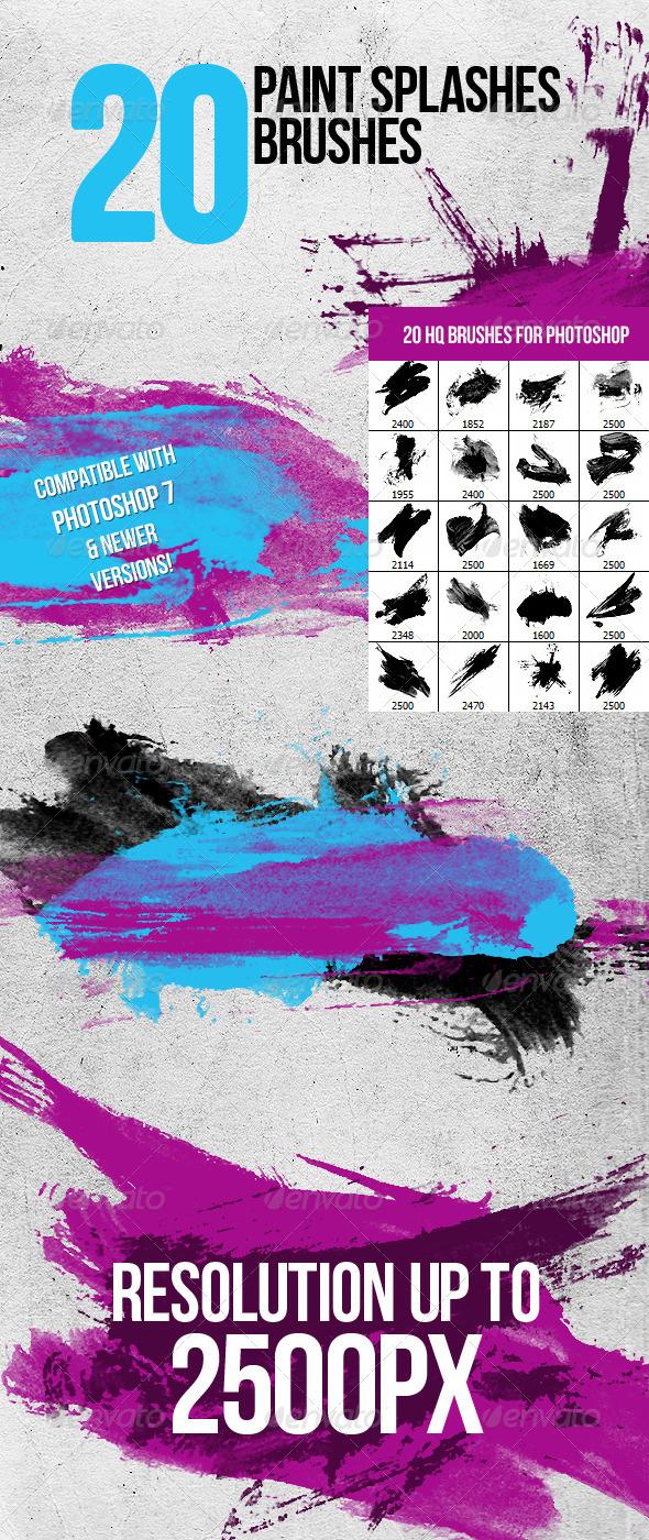 GraphicRiver 20 Paint Splashes Photoshop Brushes 811616