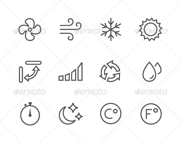 GraphicRiver Outline Air Conditioning Icons 7963424