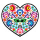 Polish Folk Art Heart Embroidery with Flowers