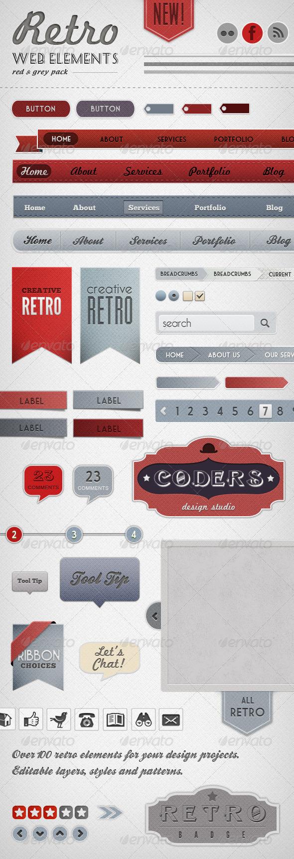 Retro Web Elements - Red & Grey Pack - Miscellaneous Web Elements