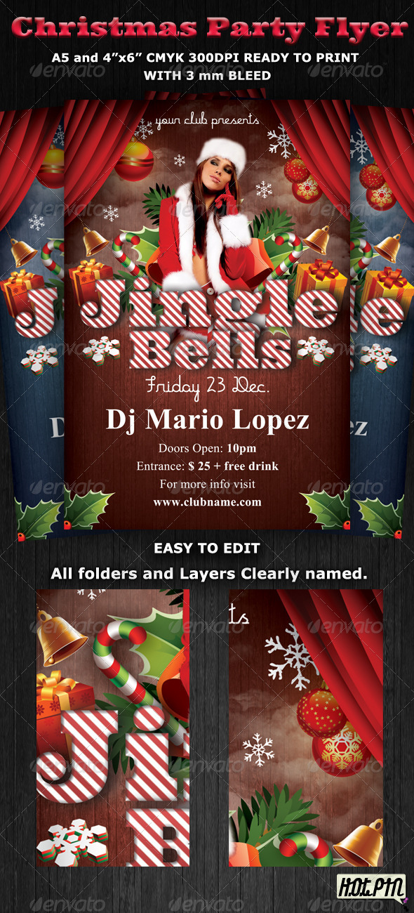 Jingle Christmas Party-Club Flyer Template - Clubs & Parties Events