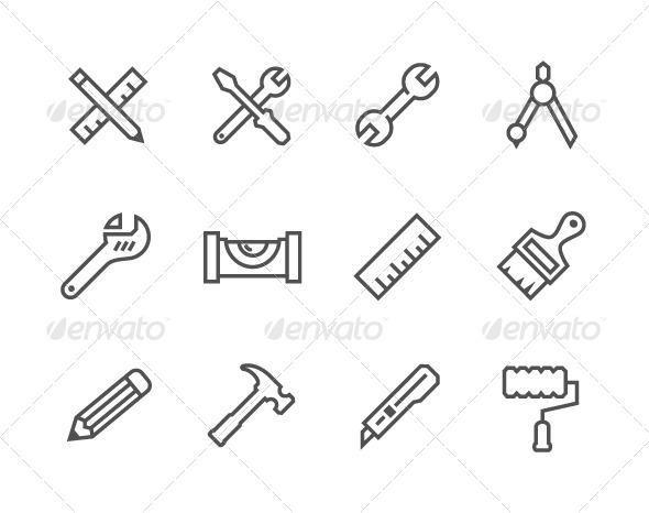 GraphicRiver Outline Tools Icons 7964099