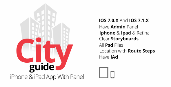 CodeCanyon City Guide iPhone & iPad App With Panel 7964131