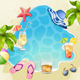 Summer Beach Illustration with Cocktail Glasses - GraphicRiver Item for Sale