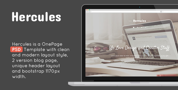 Hercules OnePage PSD Design Template