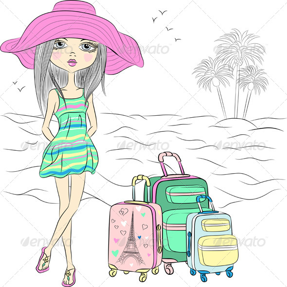 GraphicRiver Beautiful Fashion Girl on Sea Beach 7965088