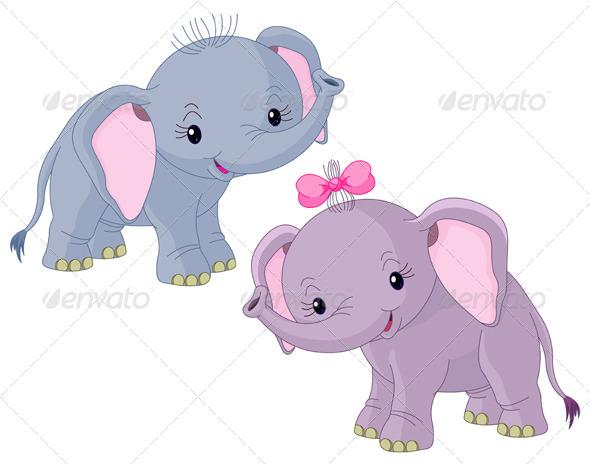 GraphicRiver Two Babiy Elephants 7965637