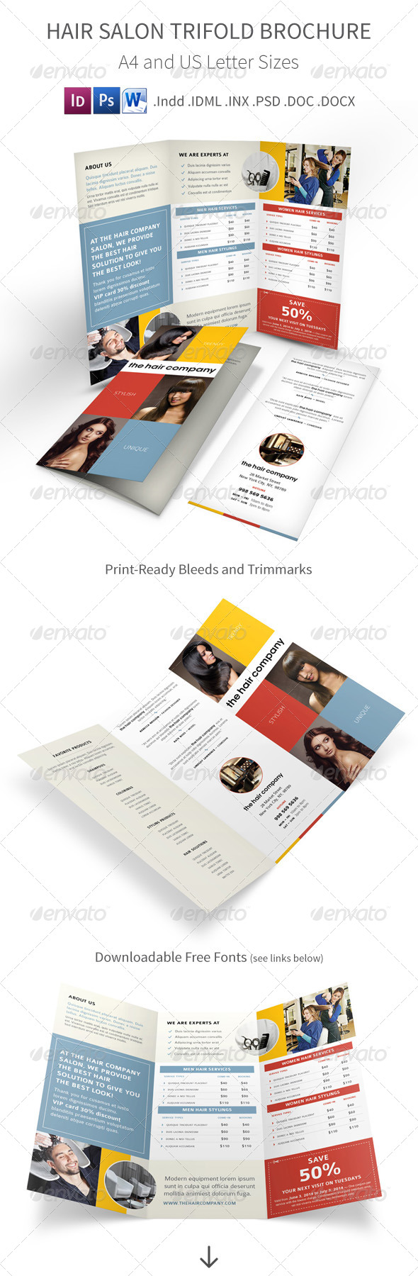 GraphicRiver Hair and Beauty Salon Trifold Brochure 7965949