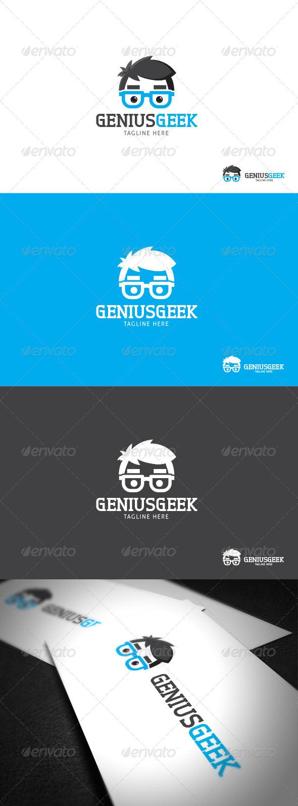 Genius Geek logo Template - Vector Abstract