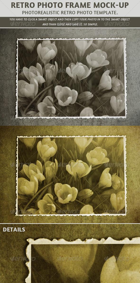 GraphicRiver Retro Photo Frame Mock-Up 7966290
