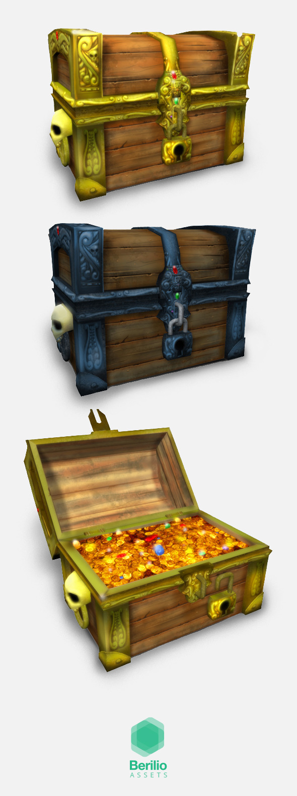 Low Poly Cartoonish Pirate Treasure Chest - 3DOcean Item for Sale