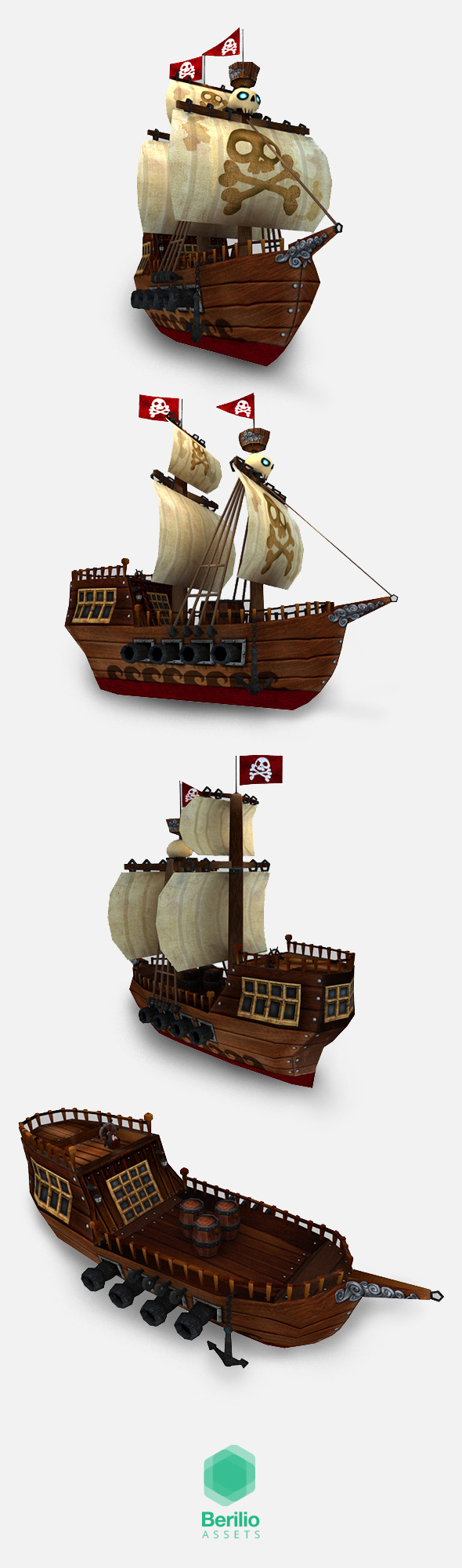 Low Poly Cartoonish Pirate Ship - 3DOcean Item for Sale