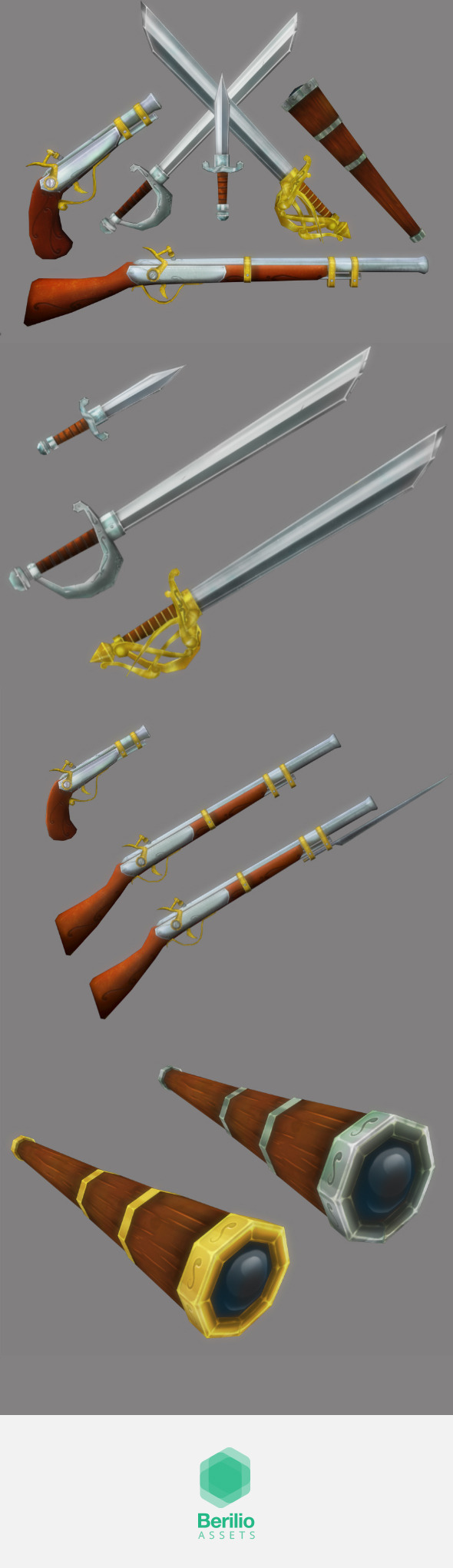 Low Poly Cartoonish Pirate Weapons Kit - 3DOcean Item for Sale