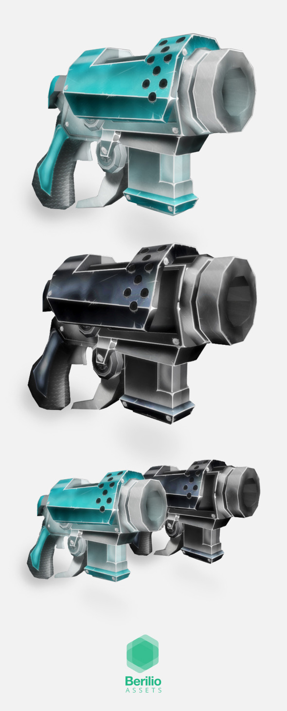 Low Poly Cartoonish Sci-Fi Pistol