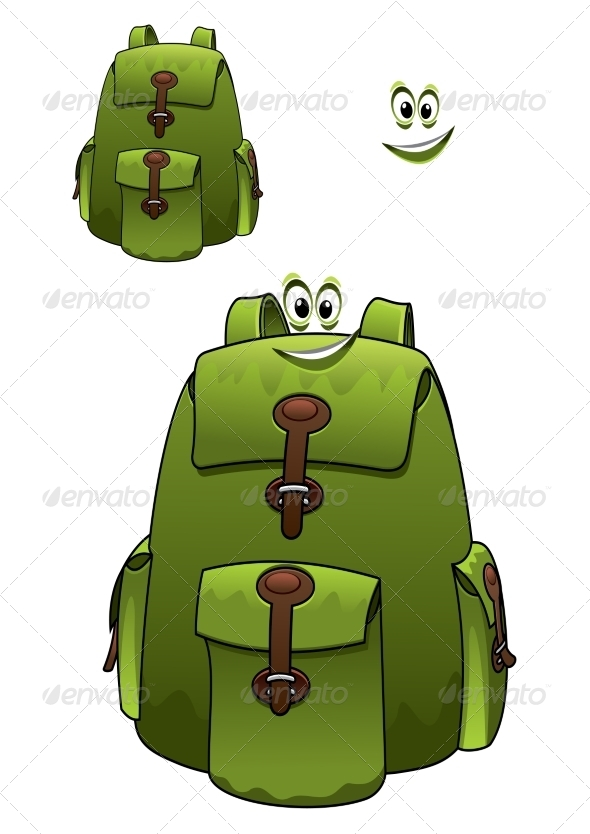 GraphicRiver Green Rucksack with Grin 7966435
