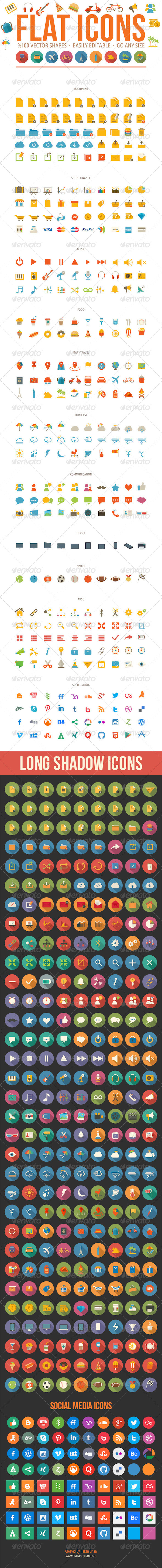 GraphicRiver Flat Icons Pack 7966494