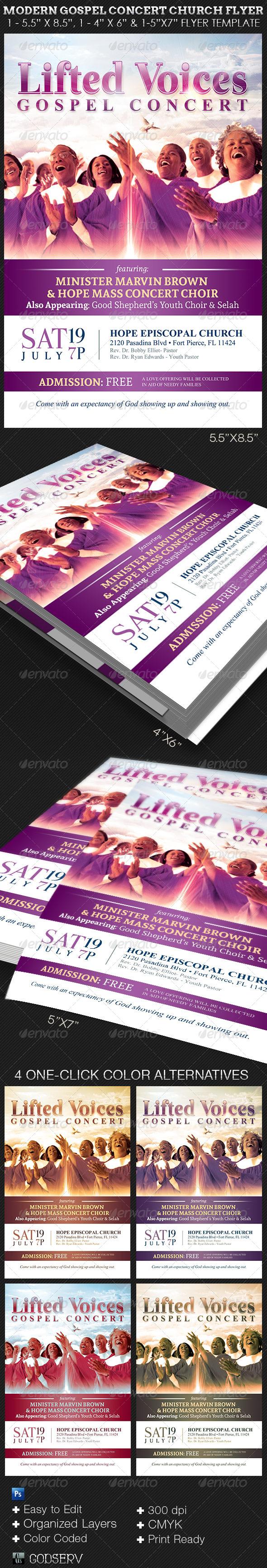 GraphicRiver Modern Gospel Concert Church Flyer Template 7966624