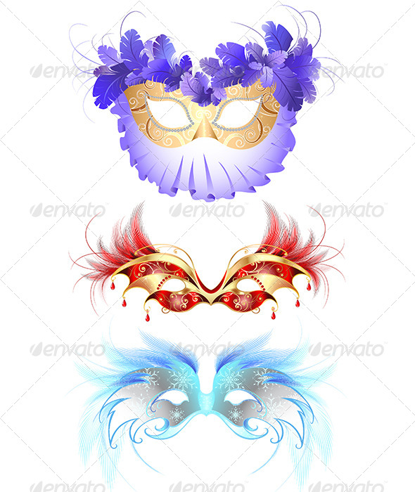 GraphicRiver Carnival Masks with Feathers 7968338