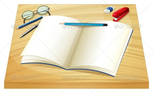GraphicRiver Notebook on Wooden Table 7968392