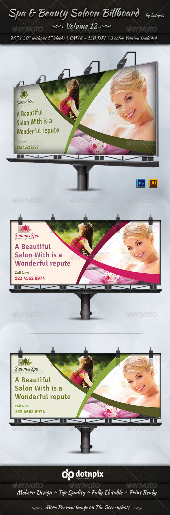 GraphicRiver Spa & Beauty Saloon Billboard Template Volume 12 7968785