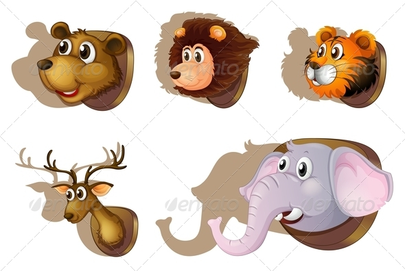 GraphicRiver Five Stuffed Heads of Animals 7968816