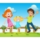 Happy Family Above the Hills with a Fence - GraphicRiver Item for Sale