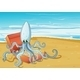 Beach with an Octopus and Treasure Box - GraphicRiver Item for Sale