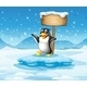 An Iceberg with a Penguin and Wooden Sign - GraphicRiver Item for Sale