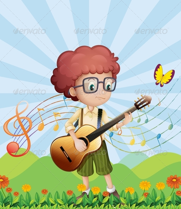 GraphicRiver Boy with His Guitar at the Hills 7968901
