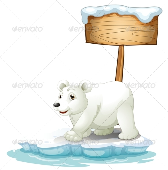 GraphicRiver White Polar Bear Below the Wooden Signboard 7968903