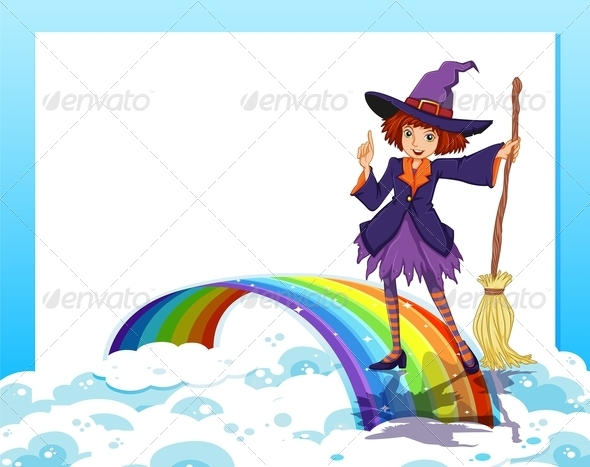 GraphicRiver Empty Template with a Witch and a Rainbow 7968921