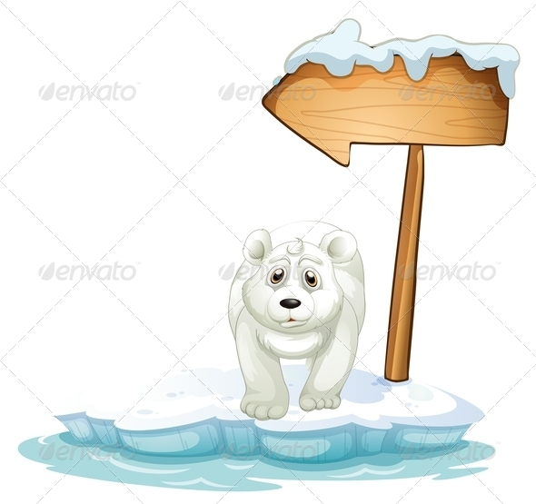 GraphicRiver Polar Bear Below a Wooden Arrowboard 7968942