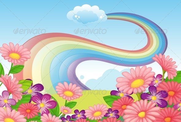 GraphicRiver Flowers on a Hilltop and a Rainbow in the Sky 7968956