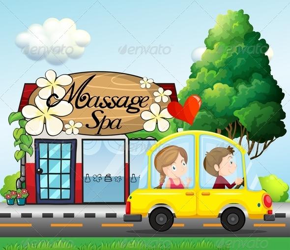 GraphicRiver A Couple Riding in a Car Near a Massage Spa 7968990
