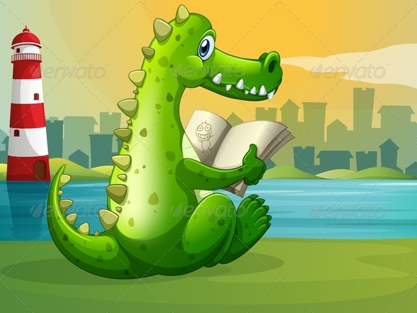 GraphicRiver A Crocodile Reading Across the Lighthouse 7969067