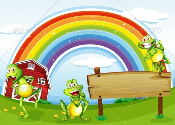 Empty Wooden Board with Frogs and a Rainbow