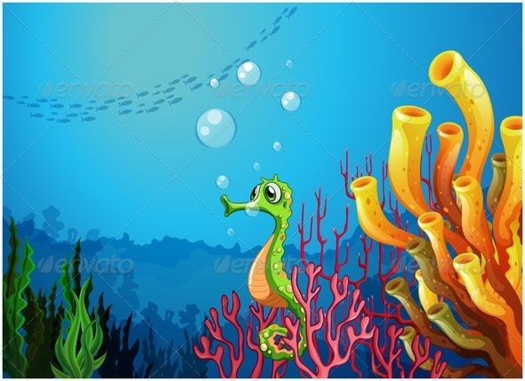 GraphicRiver Seahorse Near Coral Reefs 7969093