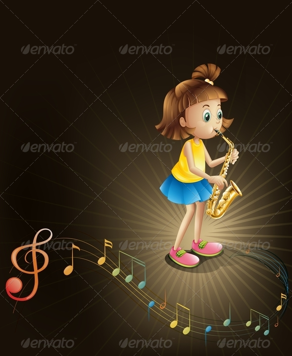 GraphicRiver Talented Young Girl with a Saxophone 7969094
