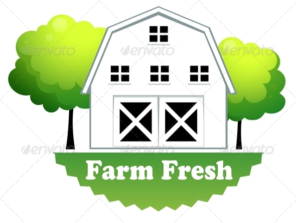 GraphicRiver Fresh Farm Label with a Farmhouse 7969098