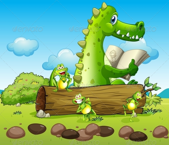 GraphicRiver A Crocodile and Three Playful Frogs 7969101
