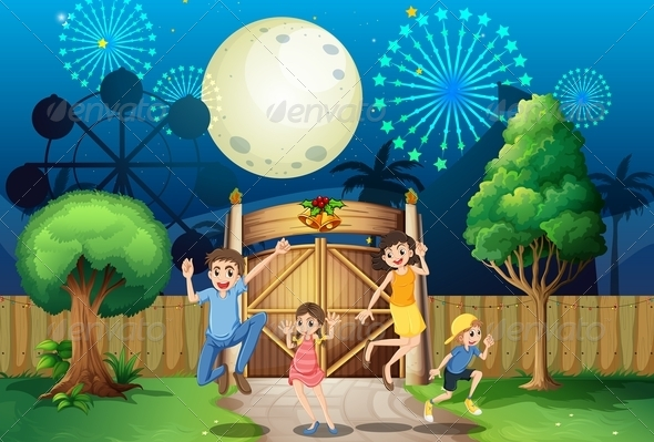 GraphicRiver Happy Family Near a Gate with Fireworks 7969135