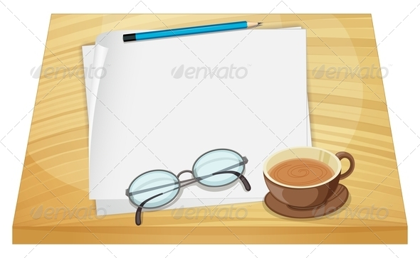 GraphicRiver Empty Sheets of Paper on a Wooden Table 7969144