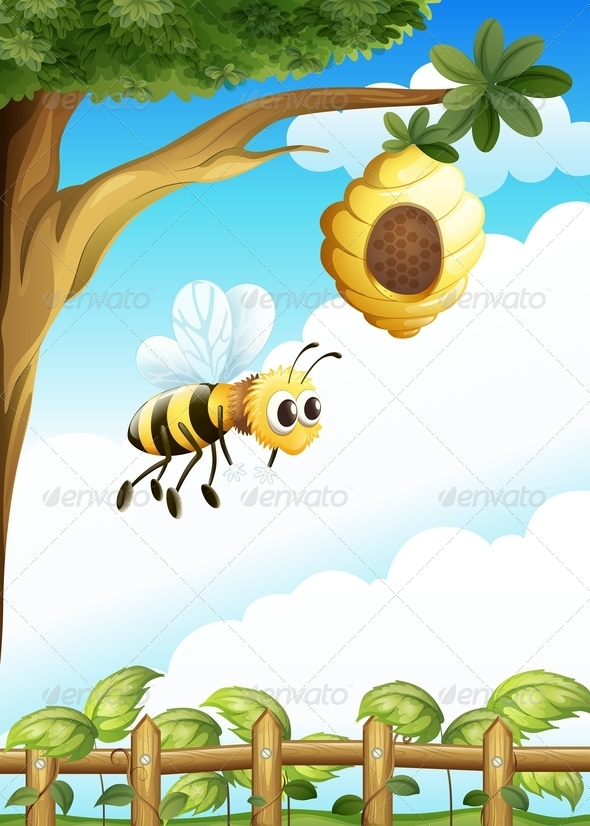 GraphicRiver Tree Near the Fence with a Beehive and a Bee 7969169